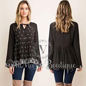 Long sleeve printed tunic blouse